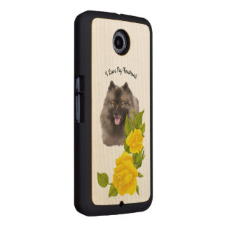 Keeshond with Yellow Roses on Maple Wood Phone Case