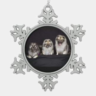 Keeshonden For Keeps Snowflake Pewter Ornament