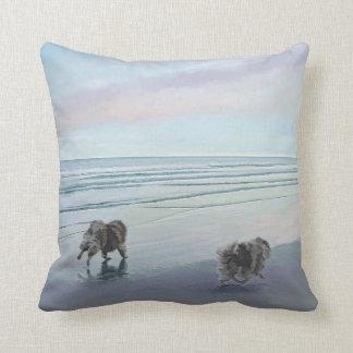 Keeshonds at the Seashore Cushion