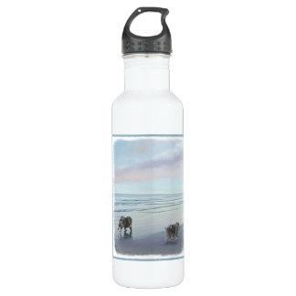 Keeshonds at the Seashore Painting Dog Art 710 Ml Water Bottle