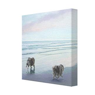 Keeshonds at the Seashore Painting Dog Art Canvas Print