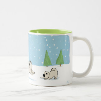 Keesies Playing in the Snow Two-Tone Coffee Mug