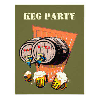 Keg Party Beer Kegs Tapped Octoberfest Invitations