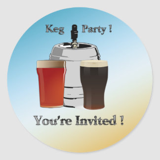 Keg Party Invitation envelope seal Round Sticker
