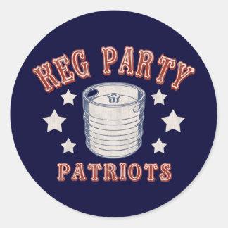 Keg Party Patriots Round Sticker