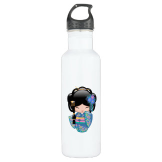 Keiko Kokeshi Doll - Blue Kimono Geisha Girl 710 Ml Water Bottle