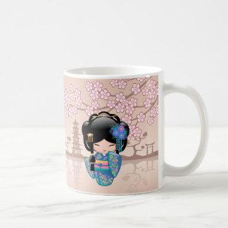 Keiko Kokeshi Doll - Blue Kimono Geisha Girl Coffee Mug
