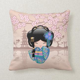 Keiko Kokeshi Doll - Blue Kimono Geisha Girl Cushion