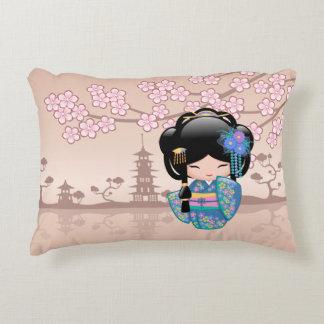 Keiko Kokeshi Doll - Blue Kimono Geisha Girl Decorative Cushion