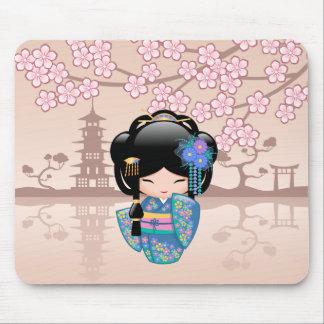 Keiko Kokeshi Doll - Blue Kimono Geisha Girl Mouse Pad