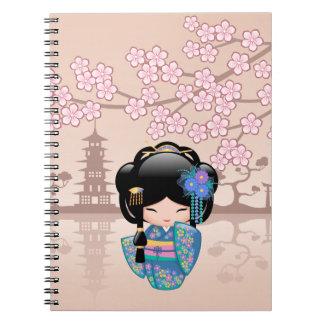 Keiko Kokeshi Doll - Blue Kimono Geisha Girl Notebook