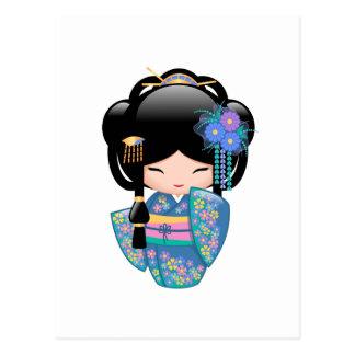Keiko Kokeshi Doll - Blue Kimono Geisha Girl Postcard