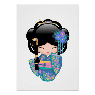 Keiko Kokeshi Doll - Blue Kimono Geisha Girl Poster
