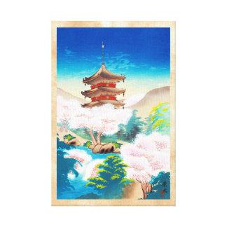 Keisui Pagoda in Spring japanese oriental scenery Canvas Print