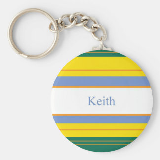 Keith Classic Stripes Basic Round Button Key Ring