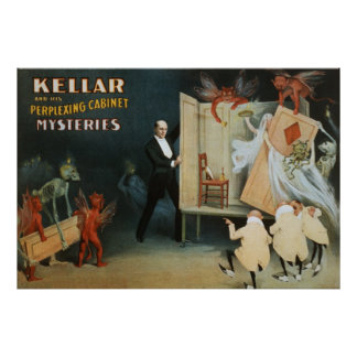 Kellar and his perplexing cabinet mysteries poster
