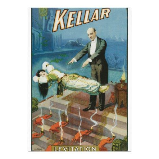 Kellar Levitation Vintage Magician Advertisement Custom Invitation