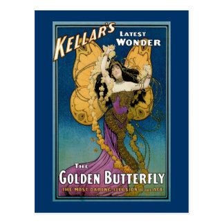 Kellar's Latest Wonder ~ The Golden Butterfly Postcard