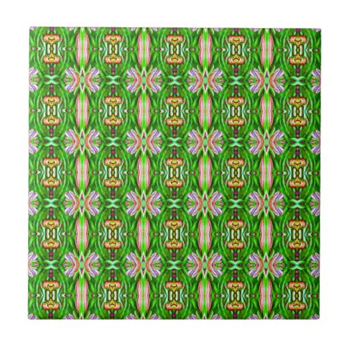 Kelly Green and Pink Lotus Flower Pattern Tile