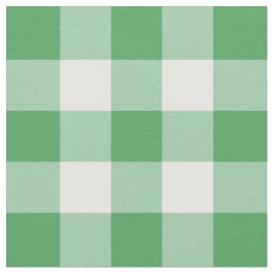 Kelly Green and White Gingham Pattern Fabric