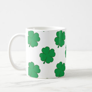 Kelly Green and White Shamrock, 4-Leaf Clover Classic White Coffee Mug