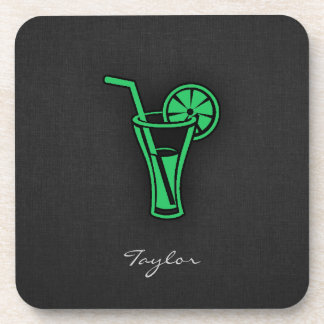 Kelly Green Cocktail Beverage Coasters