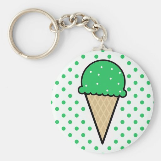 Kelly Green Ice Cream Cone Keychain
