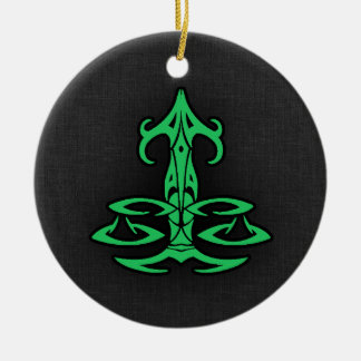 Kelly Green Libra Double-Sided Ceramic Round Christmas Ornament