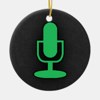Kelly Green Microphone Round Ceramic Decoration