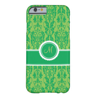 Kelly Green Monogrammed Damask iPhone 6 case Barely There iPhone 6 Case