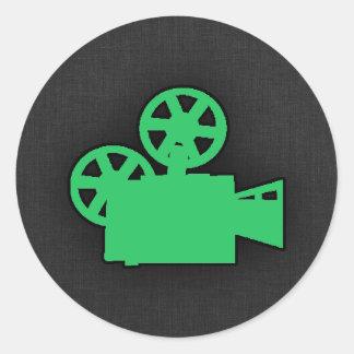 Kelly Green Movie Camera Round Sticker