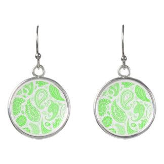 Kelly Green Paisley Designer Earrings by Julie