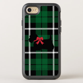 Kelly green plaid Scottish terrier with red bow OtterBox Symmetry iPhone 8/7 Case