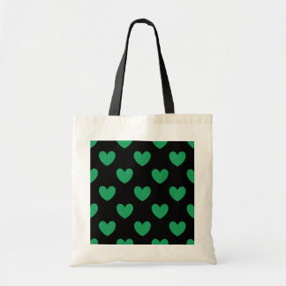 Kelly green polka hearts on black tote bag