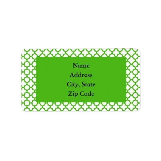 Kelly Green Quatrefoil Pattern Address Label