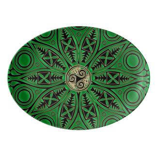 Kelly Green Triskele Mandala Porcelain Serving Platter