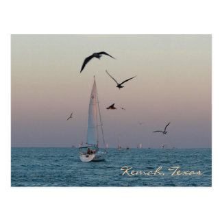 Kemah sailboat postcard - customized