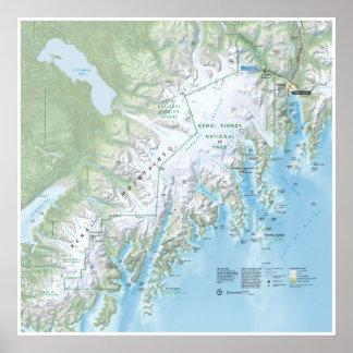 Kenai Fjords map poster