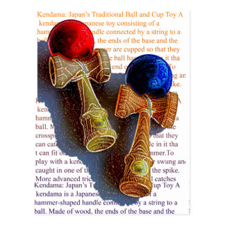 Kendama, Red and Blue Colour Ink Sketch Postcard
