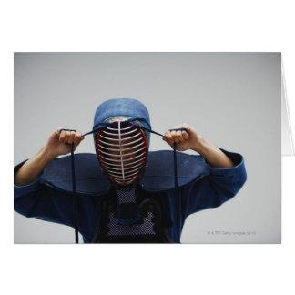 Kendo Fencer Fastening Mask 2 Greeting Card