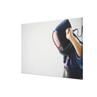 Kendo Fencer Fastening Mask Canvas Print