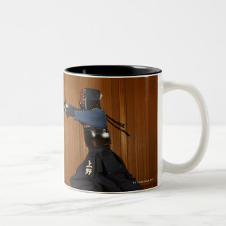 Kendo Fencer Practicing 2 Two-Tone Coffee Mug