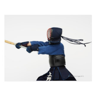 Kendo Fencer Practicing Postcard