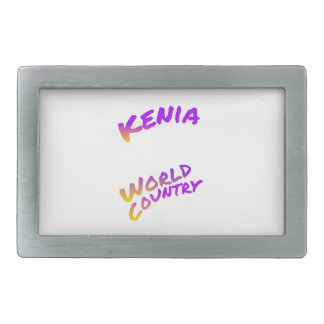 Kenia world country, colorful text art belt buckle