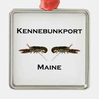 Kennebunkport Maine Lobsters Silver-Colored Square Decoration