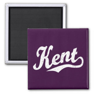 Kent script logo in white distressed magnet