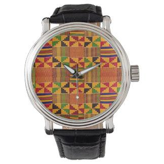 Kente motif texture print face wrist watch. watch