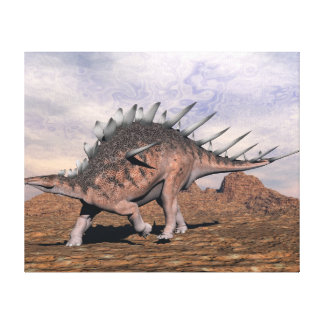 Kentrosaurus dinosaur in the desert - 3D render Canvas Print