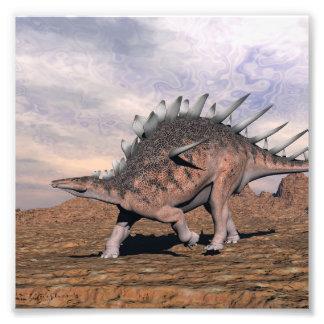 Kentrosaurus dinosaur in the desert - 3D render Photo Print