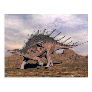 Kentrosaurus dinosaur in the desert - 3D render Postcard